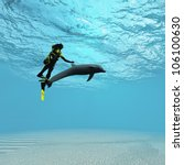 diver with dolphin | Shutterstock . vector #106100630