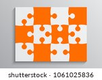 orange piece puzzle rectangle... | Shutterstock .eps vector #1061025836