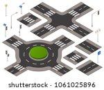 vector isometric crossroads set.... | Shutterstock .eps vector #1061025896