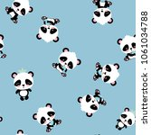 cartoon panda seamless pattern... | Shutterstock .eps vector #1061034788