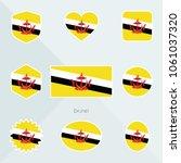 brunei flag. national flag of... | Shutterstock .eps vector #1061037320