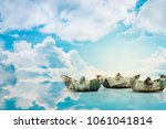 paper ship from dollar... | Shutterstock . vector #1061041814