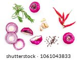 red onion rings as seasoning.... | Shutterstock . vector #1061043833