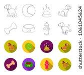 a bone  a fire hydrant  a bowl... | Shutterstock .eps vector #1061045624