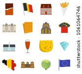 belgium travel icons set. flat... | Shutterstock .eps vector #1061064746