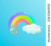 a nice rainbow with clouds... | Shutterstock . vector #1061066903