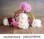 still life with peonies | Shutterstock . vector #1061078594