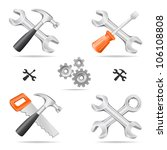 the tools icon set cross with... | Shutterstock .eps vector #106108808