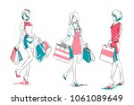 outline of young girls in full... | Shutterstock .eps vector #1061089649
