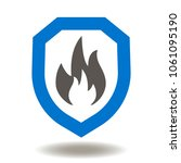 shield fire flames icon vector. ... | Shutterstock .eps vector #1061095190