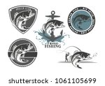 image bass fish icons | Shutterstock .eps vector #1061105699