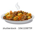 illustration of beef stew meat... | Shutterstock . vector #1061108759