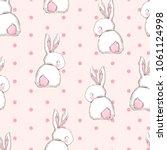 Stock vector hand drawn cute bunny pattern print design rabbit background children print textile design 1061124998