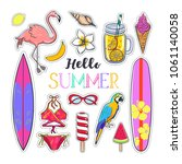 set of fashion summer stickers... | Shutterstock .eps vector #1061140058