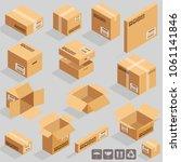 isometric vector cardboard... | Shutterstock .eps vector #1061141846