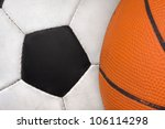 Used classic soccer ball and basketball ball together - stock photo