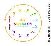 hatha yoga. surya namaskar.... | Shutterstock .eps vector #1061143118