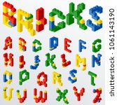 colorful plastic block brick... | Shutterstock .eps vector #1061143190