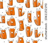 funny foxes  seamless pattern... | Shutterstock .eps vector #1061152193