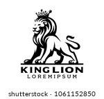 black king lion label logo...   Shutterstock .eps vector #1061152850