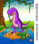 tyrannosaurus on the background ... | Shutterstock .eps vector #1061161808
