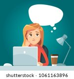 sad girl with laptop | Shutterstock .eps vector #1061163896