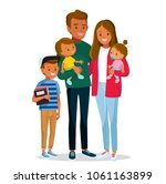 afro american family with kids | Shutterstock .eps vector #1061163899