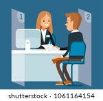 bank manager with client | Shutterstock .eps vector #1061164154