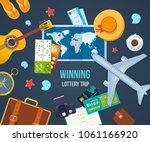 winning lottery trip. summer... | Shutterstock .eps vector #1061166920