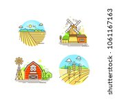 farming logo collection in line ... | Shutterstock .eps vector #1061167163