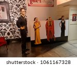 Small photo of BLACKPOOL, JANUARY 14: Madame Tussauds Blackpool, UK 2018. Three girls visiting the exhibition and wax figure of Gok Wan, an English fashion consultant, author and television presenter.