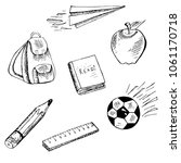 school objects illustration.... | Shutterstock .eps vector #1061170718