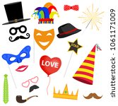 carnival set. masks for... | Shutterstock .eps vector #1061171009