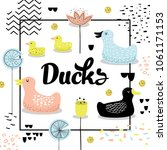 Stock vector childish design with cute ducks baby background with birds and abstract elements for decoration 1061171153
