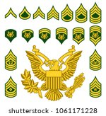 set of army military american...   Shutterstock .eps vector #1061171228