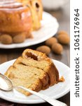 Small photo of Portuguese Easter cake Folar Algarvio with cup of coffee