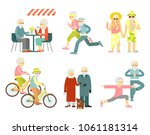 set of senior man and woman...   Shutterstock .eps vector #1061181314