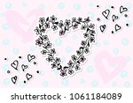 valentines day hand drawn... | Shutterstock .eps vector #1061184089