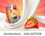 oat flakes with strawberry... | Shutterstock .eps vector #1061187428