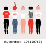 outfits   red  black  pink | Shutterstock .eps vector #1061187698