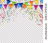 colored garlands  streamers and ... | Shutterstock .eps vector #1061195510