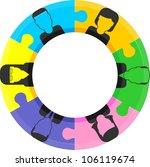 teamwork puzzle concept | Shutterstock .eps vector #106119674