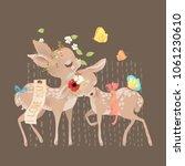 cute baby deers friends with... | Shutterstock .eps vector #1061230610