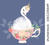 beautiful white swan princess... | Shutterstock .eps vector #1061230649