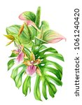 bouquet of flowers  leaves of... | Shutterstock . vector #1061240420