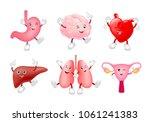 set of funny cute cartoon... | Shutterstock .eps vector #1061241383