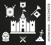 medieval castle silhouette and... | Shutterstock .eps vector #1061244218