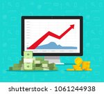 computer with stocks graphs and ... | Shutterstock .eps vector #1061244938