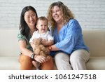 happy multi ethnic female... | Shutterstock . vector #1061247518
