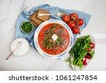 traditional soup borsh on... | Shutterstock . vector #1061247854